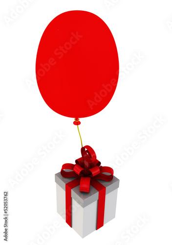 Подарочная коробка с красным бантом на воздушном шаре