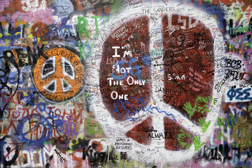 Peace symbol in Graffiti in Prague center