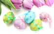 Bright Easter Eggs And Tulips,...
