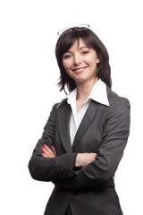 Portrait of beautiful woman in suit