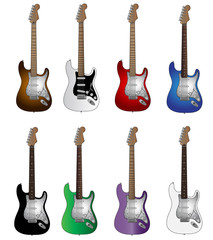 Set of eight basic colors electric guitars