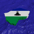 Lesotho map flag in abstract ocean illustration