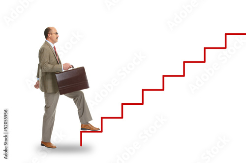 Businessman walking on drawing stairs