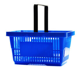 Empty plastic shopping basket isolated on white