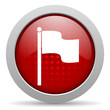 flag red circle web glossy icon