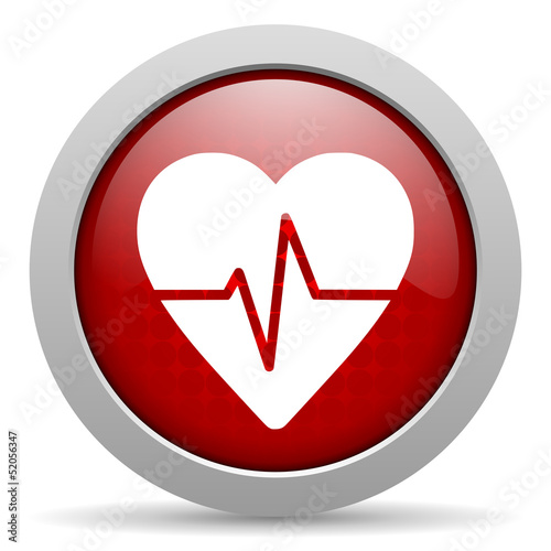 cardiogram red circle web glossy icon