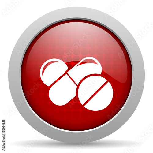 pills red circle web glossy icon
