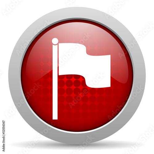flag red circle web glossy icon