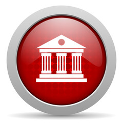 museum red circle web glossy icon
