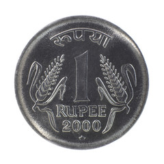 Shiny one rupee coin on  white background
