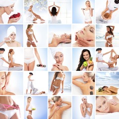 Sport, massaging, fitness and healthy eating collage