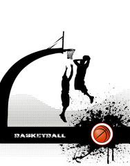 basketball match on grunge background