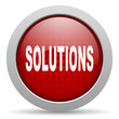 solutions red circle web glossy icon