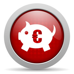 piggy bank red circle web glossy icon