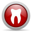 tooth red circle web glossy icon
