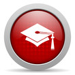 graduation red circle web glossy icon