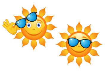 Funny sun in sunglasses