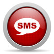 sms red circle web glossy icon