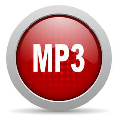 mp3 red circle web glossy icon