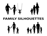 silhouette of family group