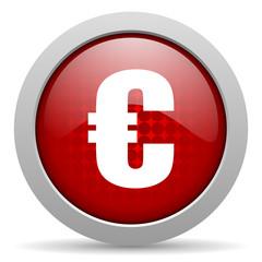 euro red circle web glossy icon