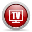 tv red circle web glossy icon