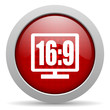 16 9 display red circle web glossy icon