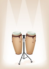 Beautiful Congas with Stand on Brown Stage Background