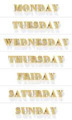 Weekdays from gold yellow metal letters