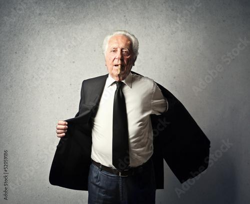 businessman undresses