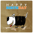 Greeting card with cute cartoon doggy.