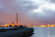 Poolbeg power station and Dublin Port at night