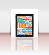 Tablet PC with social word on it. flyer or presentation