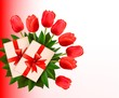 Holiday background with bouquet of red flowers and gift box. Vec