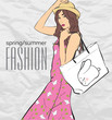 Prety fashion girl in sketch style. Vector illustration.