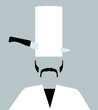 chef with knife through tall hat