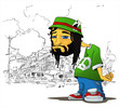Rasta character on a city-background. Vector illustration.