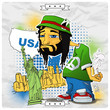 Rasta character on a usa-background. Vector illustration.