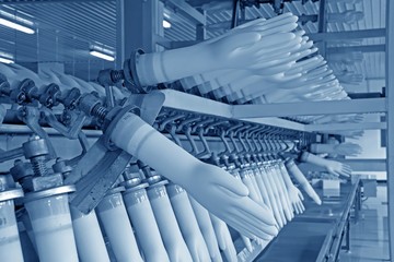 acrylonitrile butadiene gloves production line in a factory