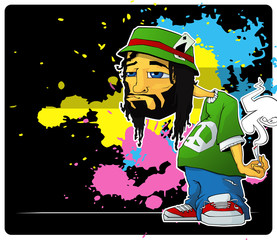Rasta character on a grunge-background. Vector illustration.