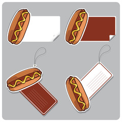 Vector set of tags and stickers with hot dog.