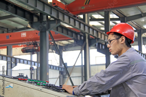 industrial workers in the production line