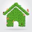 Creative eco house icon concept, vector illustration