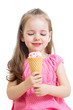 child girl eating ice cream isolated