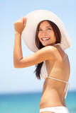 Summer beach woman beautiful with sun hat poster
