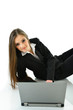 Business Woman with Laptop Looking Straight