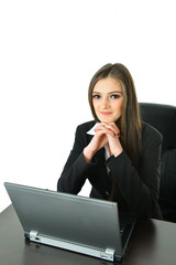 Business Woman with Hands on Chin