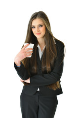 Business Woman Standing with Beverage