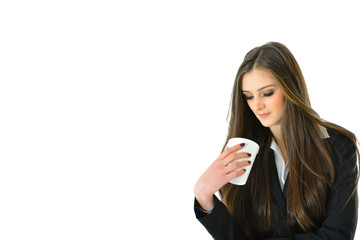 Business Woman Looking at her Beverage