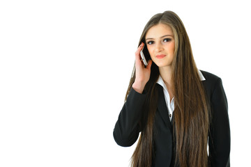 Business Woman on Phone Looking Straight